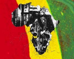 אחד מסמלי הרסטות – יבשת אפריקה על רקע צבעי הדגל האתיופי ובתוכה דמותו של הקיסר היילה סלאסי.